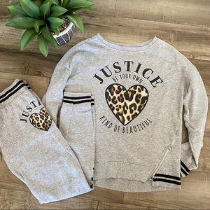 Justice 2 piece sweat suit outfit size 10